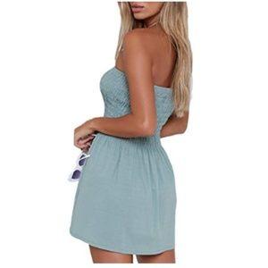 NWT Women's Solid Tube Top Beach Mini Dress